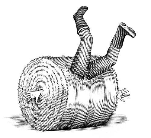 Homme noir et blanc coincé dans le son de blé