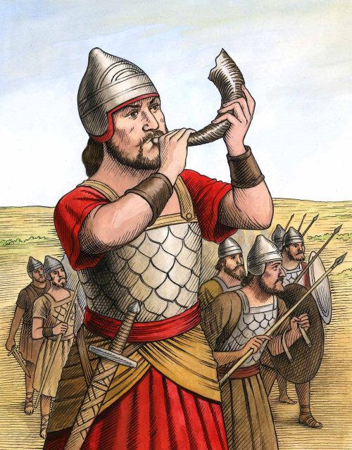 Soldat historique soufflant de la corne