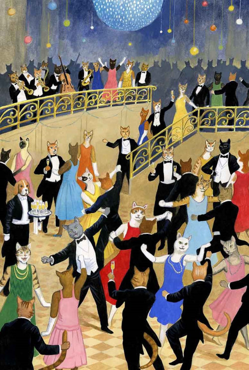 Les gens dansent dans des masques