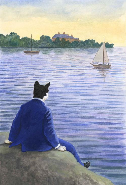 Gens, chat, homme, regarder bateau