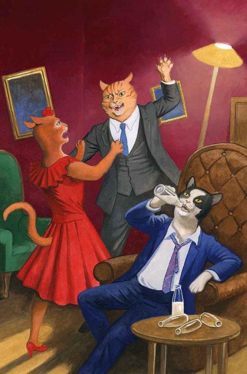 Les gens de chat font la fête