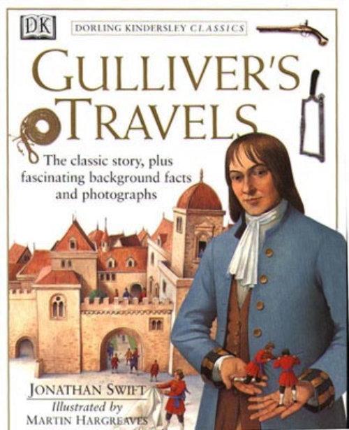 Illustration de la page de couverture des voyages de Gulliver