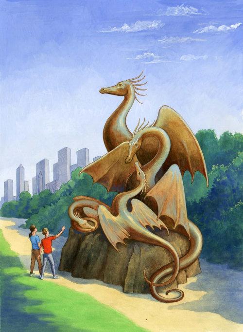 Les gens qui regardent la statue du dragon
