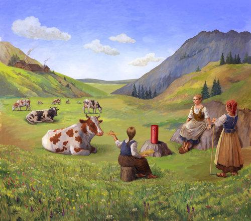 Des gens assis avec des vaches