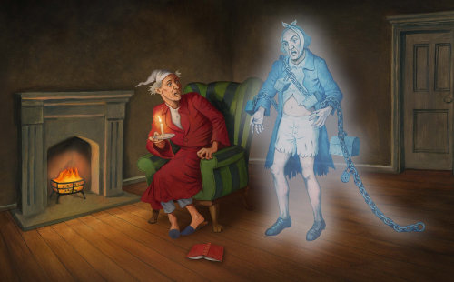 L'homme a peur de voir un fantôme