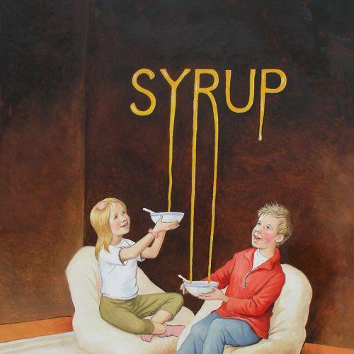 Children filling syrup in bowl