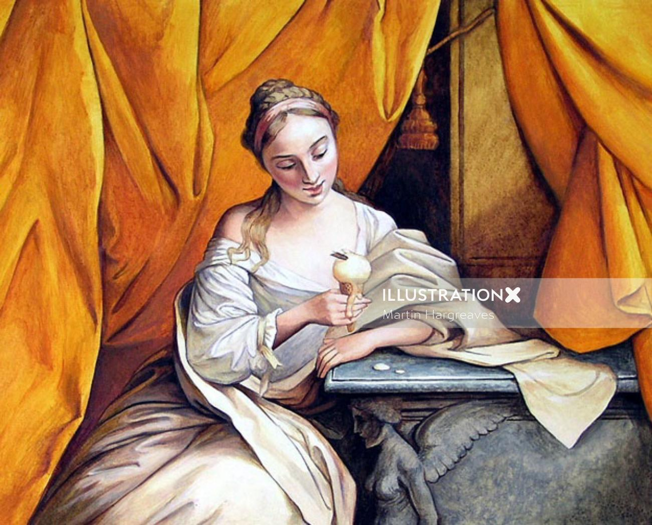 Historical woman with icecream