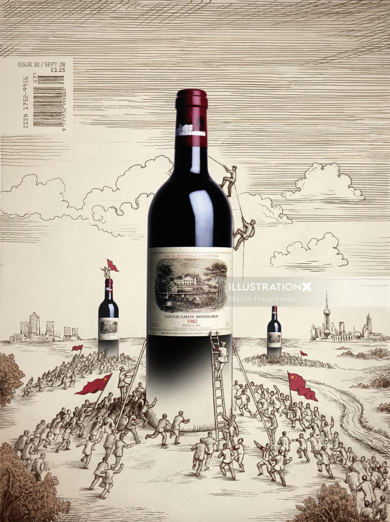 Food & Drink people climbing wine bottle