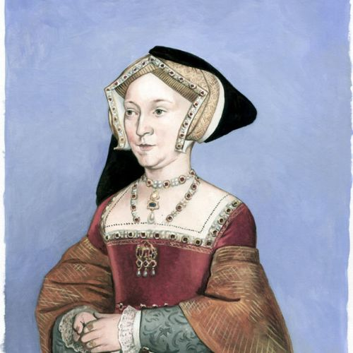 Watercolor portrait of Jane Seymour