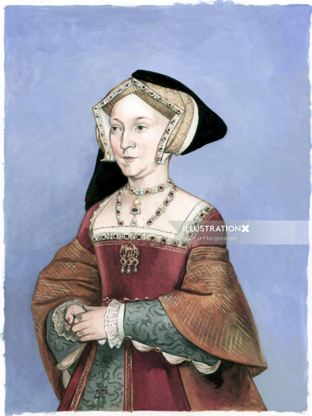 Watercolor portrait of Jane Seymour