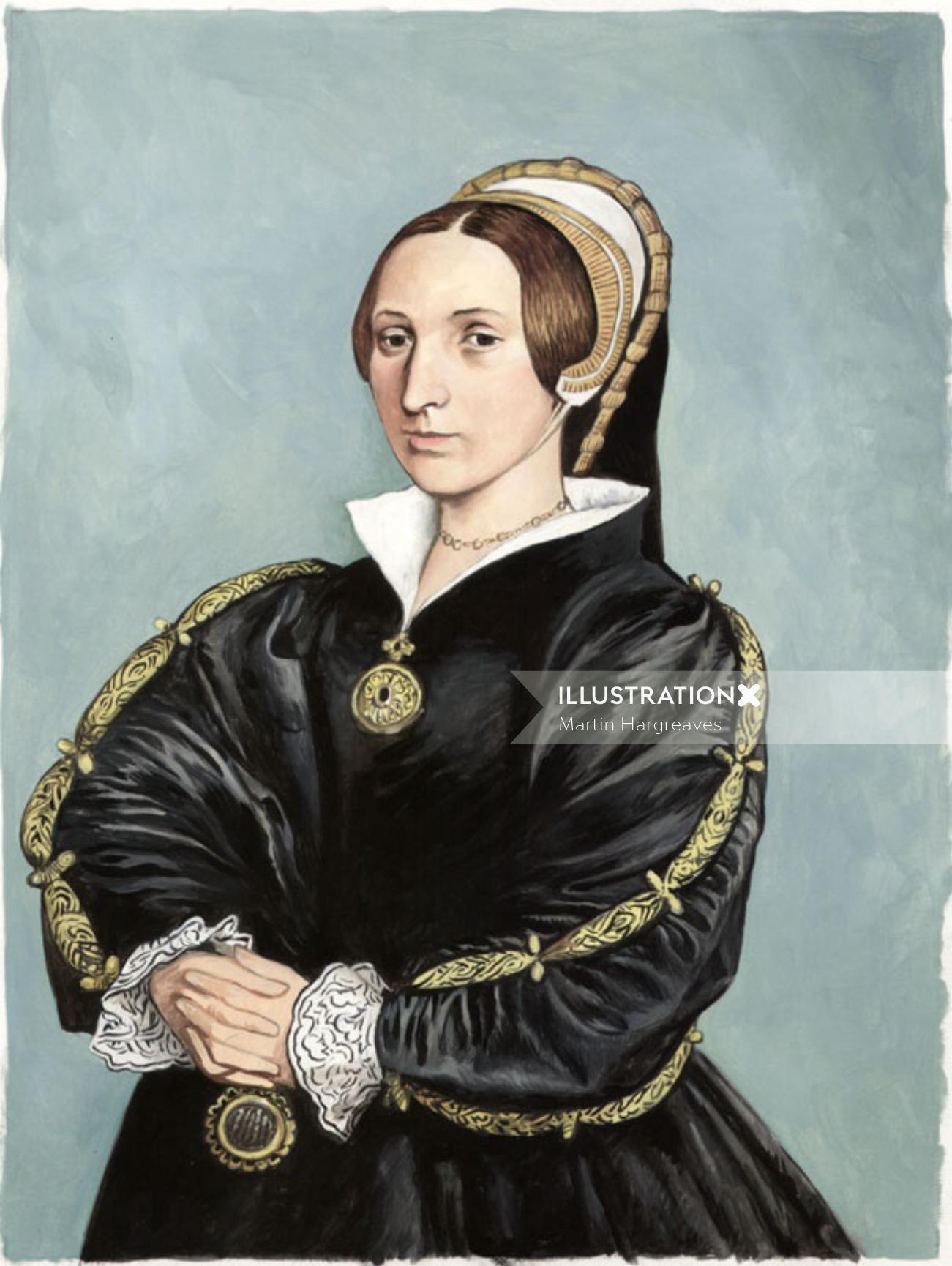 Pastiche portrait art of Katherine Howard