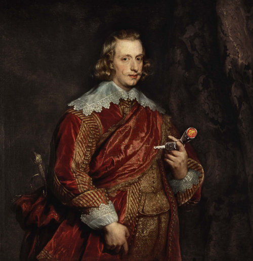 Man portrait holding flower in history