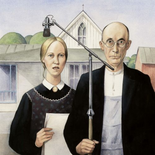 People singing American Gothic