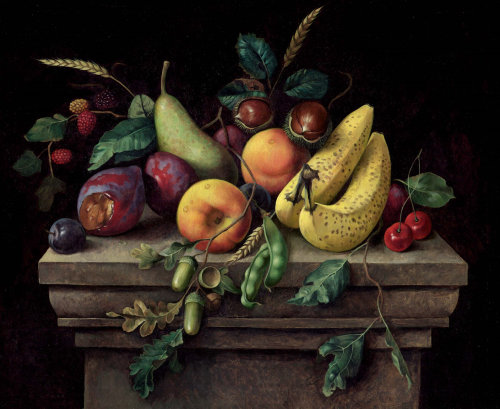 Peinture à l'huile de fruits
