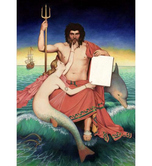 Animaux Roi de la mer avec sirène