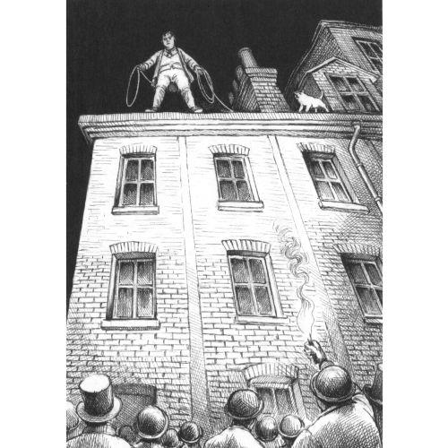 Black & White Man standing on building