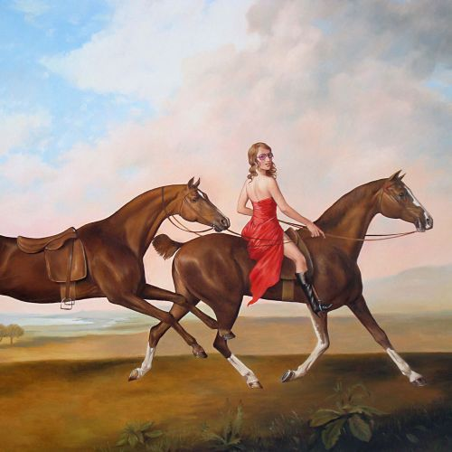 Animals girl riding horse