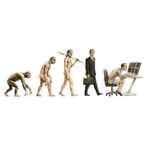 Evolution of man illustration by  Martin Hargreaves