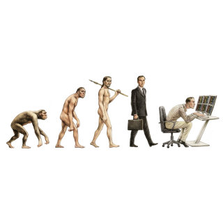 Evolution of man illustration by  Martin Hargreaves