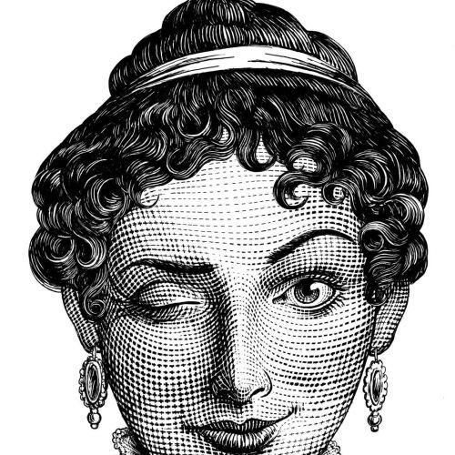 Black & White winking woman