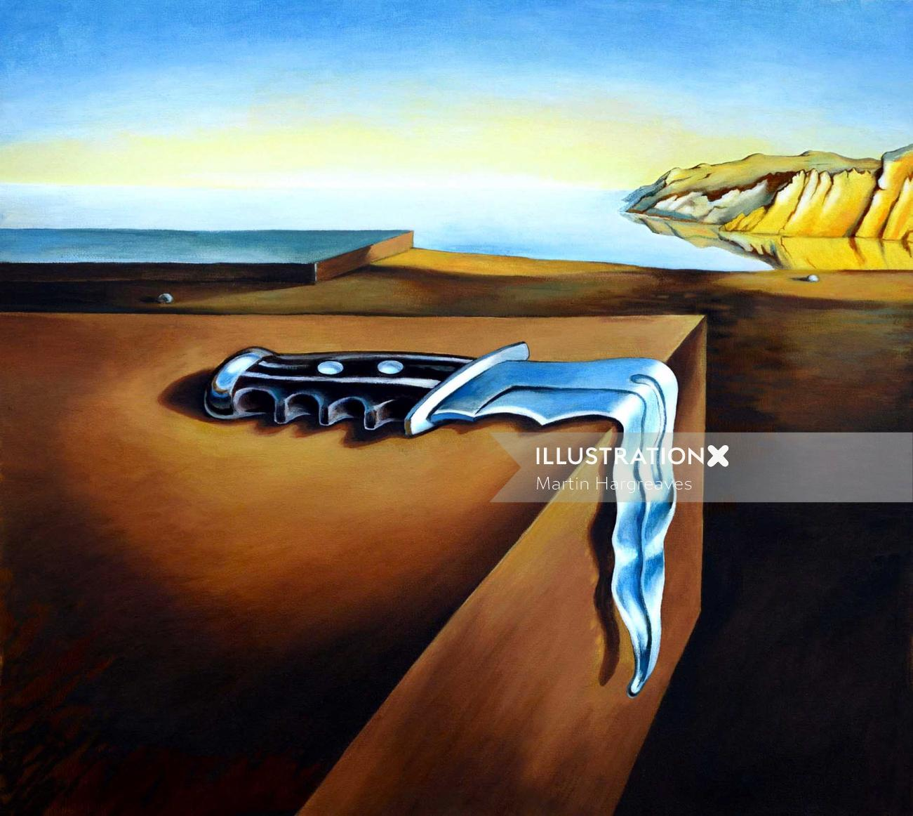 Pastiche illustration of Dali Knife