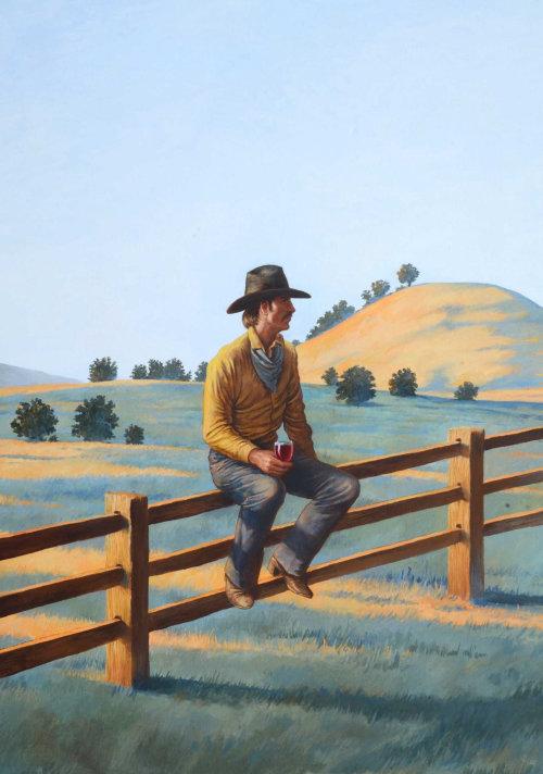 Homme de la nature assis à la campagne