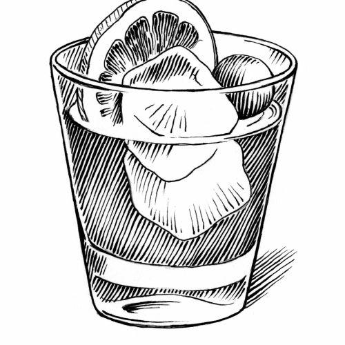 Black & White Glass full of juice