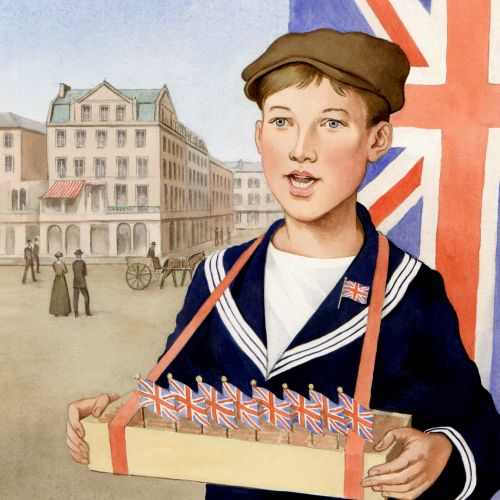 Children with UK flags