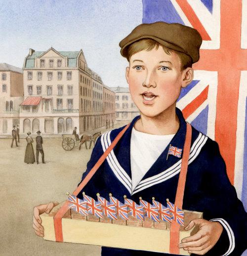 Enfants avec des drapeaux britanniques