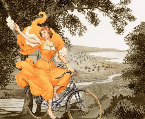 Femme, équitation, bicyclette