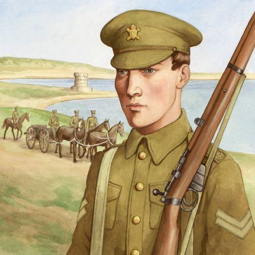 Historical soldier with gun