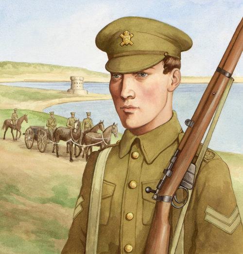 Soldat historique avec arme à feu