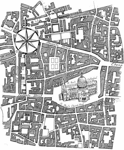 Plan de la ville en noir et blanc