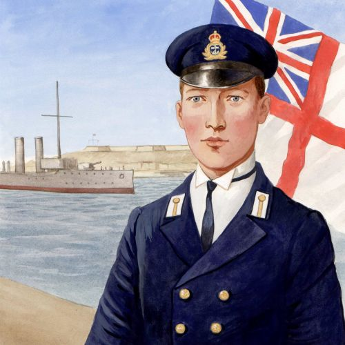 Historical officer with British flag