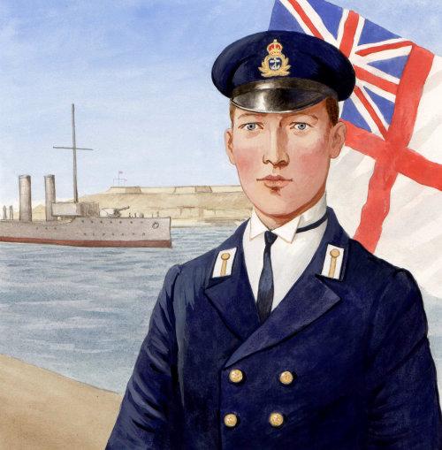 Officier historique avec drapeau britannique
