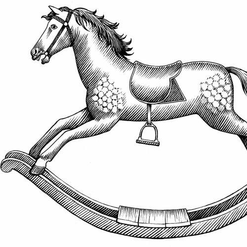 Black & White horse toy