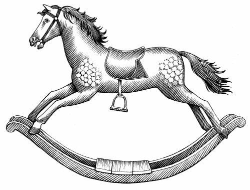 Jouet cheval noir et blanc