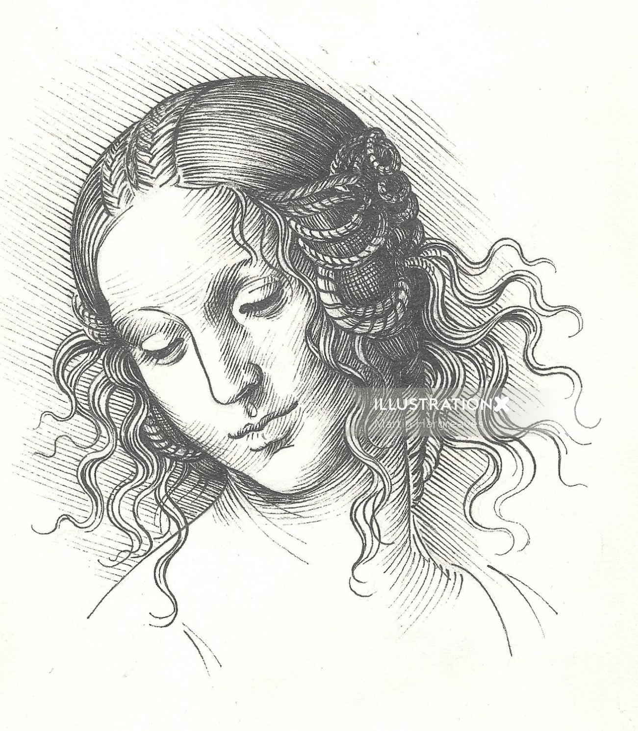 Face line drawing of women