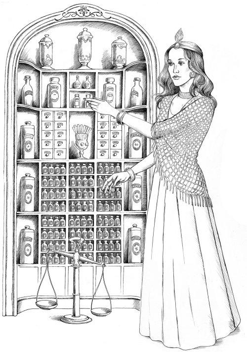 Femme noir et blanc avec placard à bouteilles
