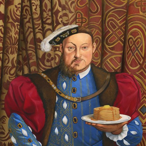 Historical king with cake