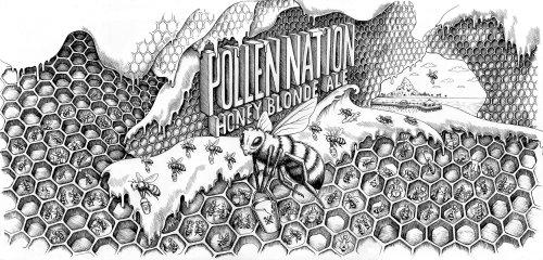 Bière blonde au miel à pollinisation noire et blanche
