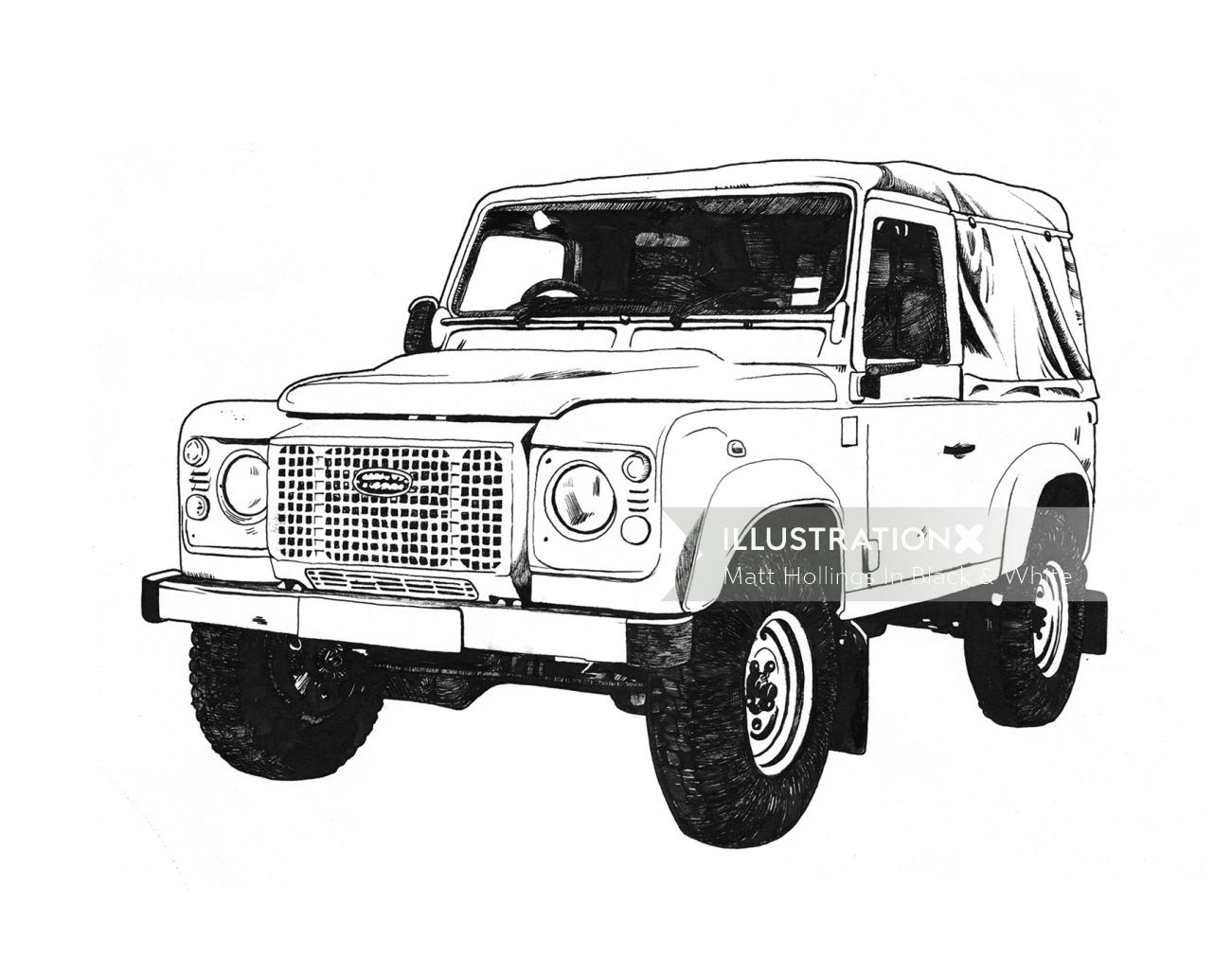 Black and white illustration of Jeep