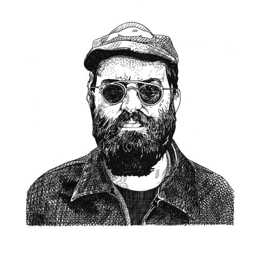 Beard man black and white portrait art by Matt Hollings