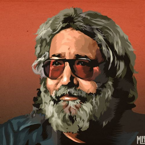 Digital painting of beard man portrait