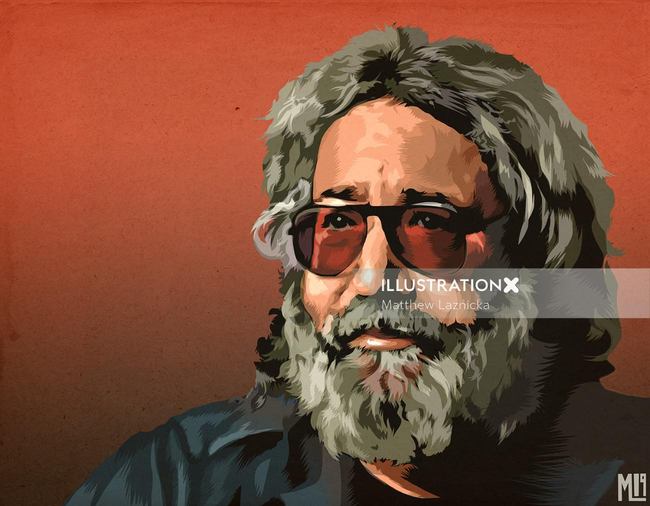 Digital painting of beard man portrait