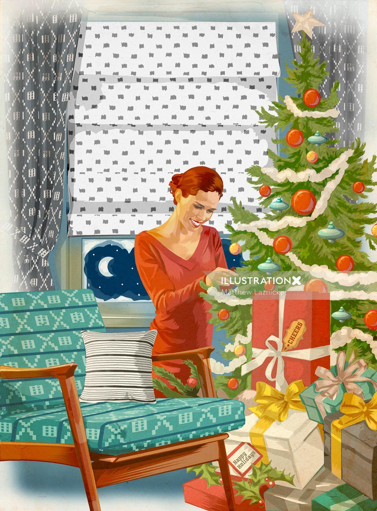 Digital painting of Christmas tree decoration