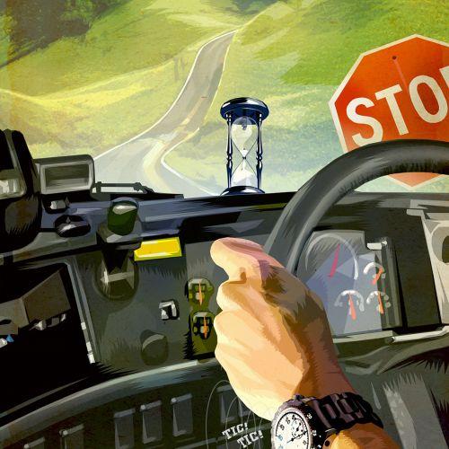 Digital painting of car driving