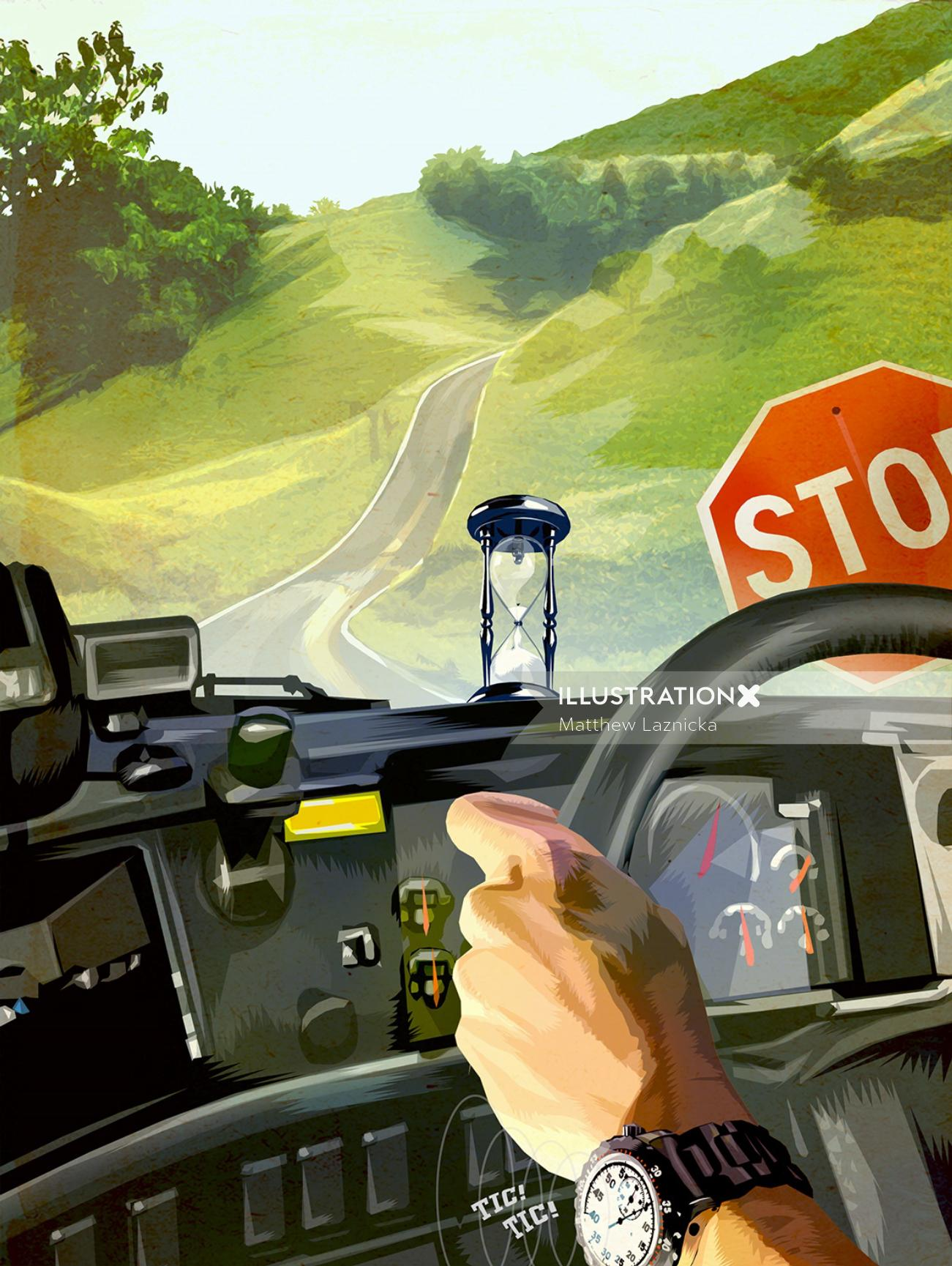 Digital painting of car driving