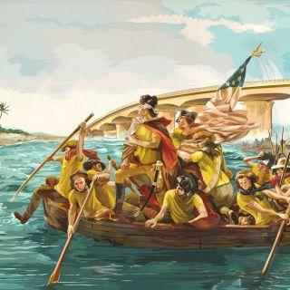 Pastiche art of Riding boat