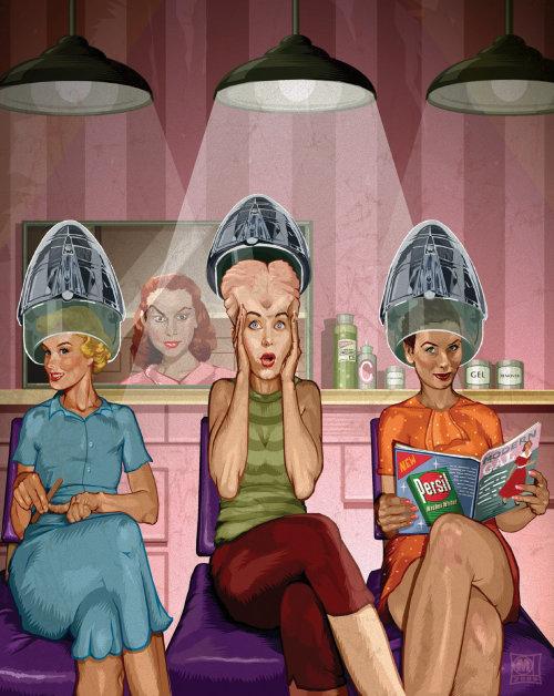 Image d'art rétro des dames dans le salon